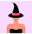 Beautiful witch in black hat with pink ribbon vector image vector image