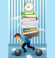 businessman carrying a pile paper vector image vector image