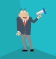 businessman shouting into megaphone vector image vector image