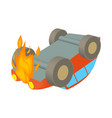 Car is on fire icon cartoon style vector image vector image