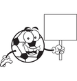 Cartoon soccer ball holding a sign vector image vector image