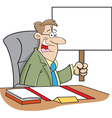 Cartoon worker with sign vector image vector image