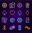 casino night neon icons vector image
