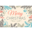 christmas evergreen border vintage holiday green vector image