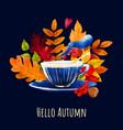 cozy autumn evening card design hand drawn art vector image