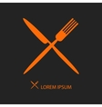Crossed orange flatware on black vector image