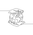 earth in hand human hands holding earth world vector image vector image