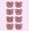 emojis kawaii cartoon faces expression bear comic vector image vector image