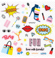 fashionable quirky colorful label and stickers set vector image vector image