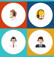flat hotline set of call center help vector image vector image