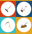flat icon dacha set of harrow grass-cutter lawn vector image vector image