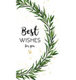 floral greeting card design with eucalyptus green vector image vector image