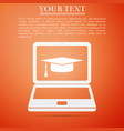 graduation cap and laptop online e-learning vector image vector image
