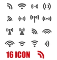 grey wireless icons set vector image vector image
