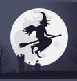 halloween scary witch flying on a broomstick vector image vector image