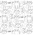 hand drawn cats pattern background vector image vector image