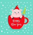 happy new year 2019 pig sitting in red coffee cup vector image vector image