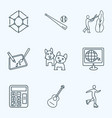 hobby icons line style set with guitar design vector image vector image