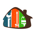 house repair with tool symbol vector image vector image