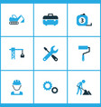 industry icons colored set with tools excavator vector image vector image