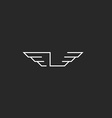 Letter L logo wings monogram graphic shape thin vector image