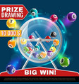 lottery machine wheel drum with lotto balls vector image vector image