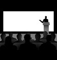 man giving a speech on stage vector image vector image
