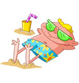 man lying on beach vector image vector image