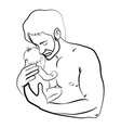 man with a child logo young father vector image vector image