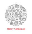 merry christmas circle banner with vector image vector image
