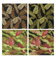 military seamless pattern set with tropical leaves vector image vector image
