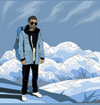 pop art hipster man on the top of rock vector image vector image