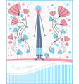 postcard with boy and flowers vector image