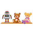robot and dolls on wooden shelf vector image