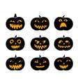 set of black silhouette pumpkins with eyeball vector image vector image