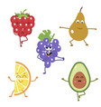 set of funny characters from fruits engaged in vector image vector image