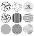 set of round monochrome seamless patterns vector image