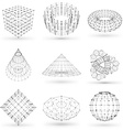 set wireframe polygonal elements abstract vector image
