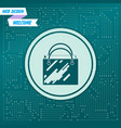 shopping bag icon on a green background with vector image