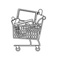 shopping cart full with television cellphone bags vector image