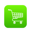 shopping cart icon digital green vector image vector image