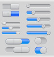 slider bars set of gray blue volume level console vector image vector image