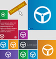 Steering wheel icon sign Metro style buttons vector image