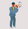 trumpet player with a trumpet stands vector image