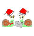Two funny Christmas cartoon snails with a letter vector image vector image