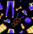 Women fitness equipment seamless pattern