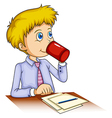 A businessman drinking coffee vector image vector image