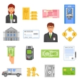 Bank Isolated Color Icons vector image