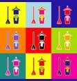 broom bucket and hanger sign pop-art vector image