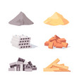 building material set large piles gray cement vector image vector image